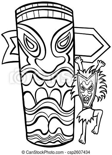 Witch Doctor Tiki Idol Line Art - csp2607434