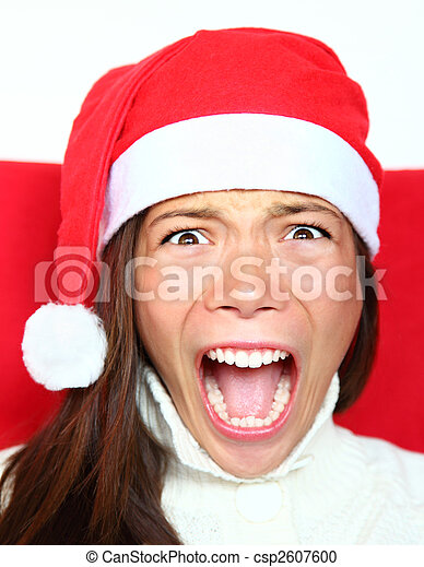 Screaming christmas woman with stress - csp2607600