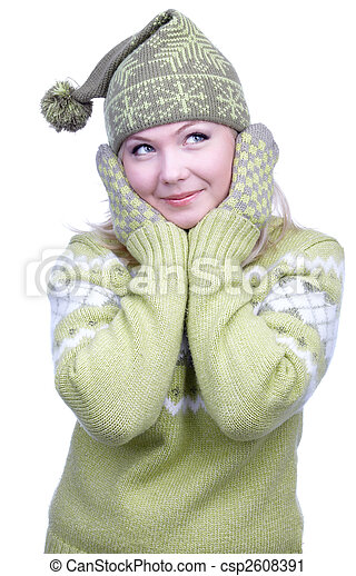 girl in warm clothes - csp2608391