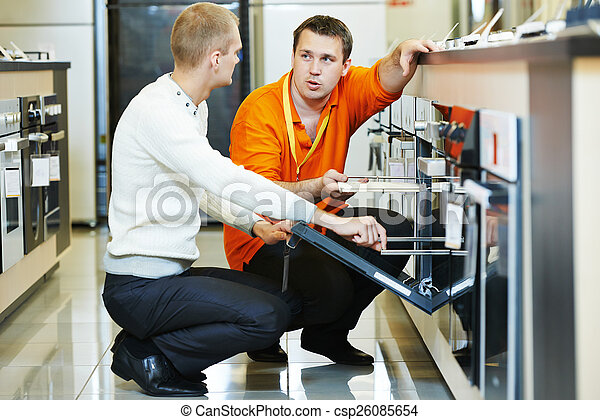 family shopping at home appliance supermarket