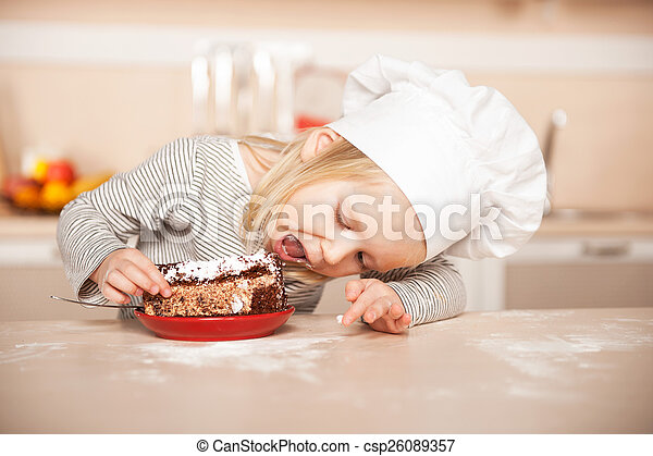 Little Cute Girl With Chef Hat Eating Cake Kitchen Interior Concept For Young Kitchen Hands Stock Images Page Everypixel