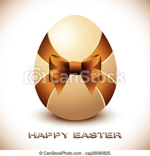 Easter Egg with Brown Silky Bow - csp26090825