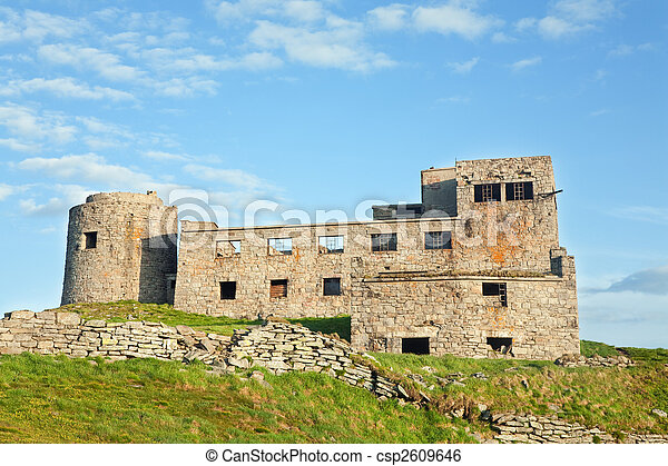 Summer mountain view with observatory ruins on mountain top - csp2609646