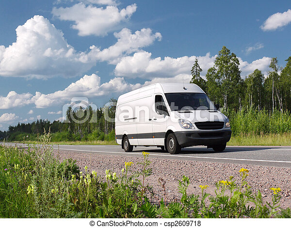 white van on rural highway - csp2609718