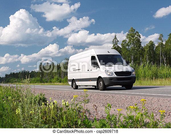 white van on rural highway - csp2609718