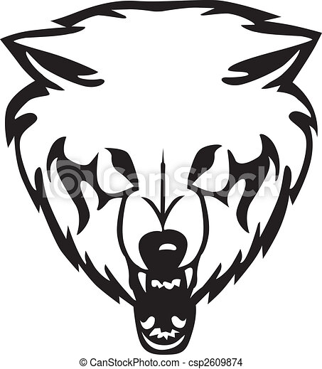 Head of a wolf.Vector illustration - csp2609874