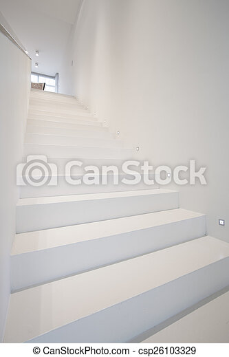 White stairs in modern house