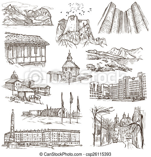 Architecture Famous Places Full Sized Illustrations Csp26115393
