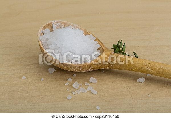 Sea salt heap crystal with thyme branch