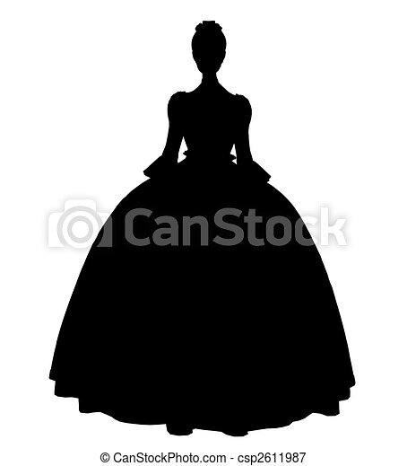 Cinderella Silhouette Illustration - csp2611987