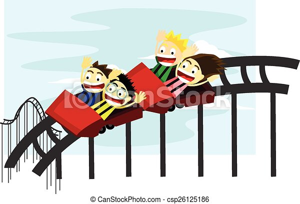 Clip Art Vector of Roller Coaster Children - Happy children enjoy ...