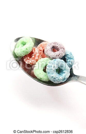 Fruity rings cereal on a Spoon - csp2612836