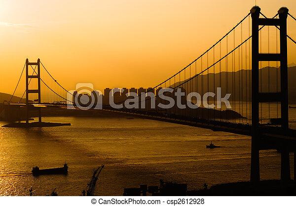 Sunset of Tsing Ma Bridge in Hong Kong - csp2612928