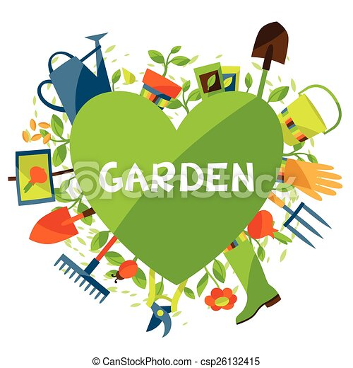 Garden Design Graphics vector clip art of background with garden design elements and