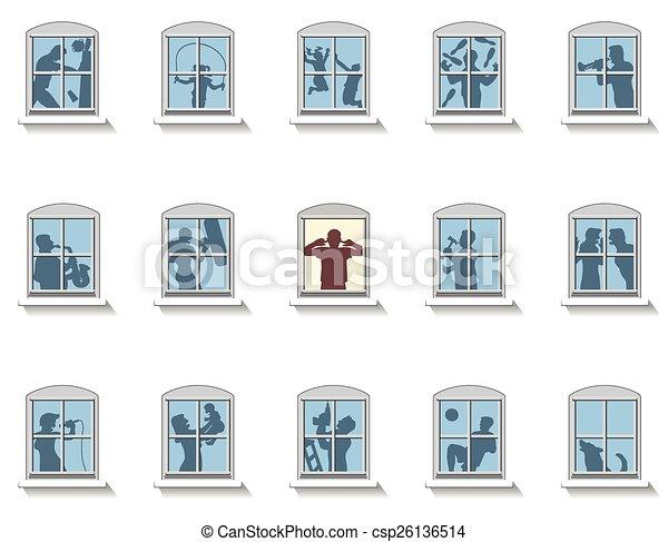 clip art vecteur de voisins fenetres bruit voisins cela faire divers csp26136514. Black Bedroom Furniture Sets. Home Design Ideas