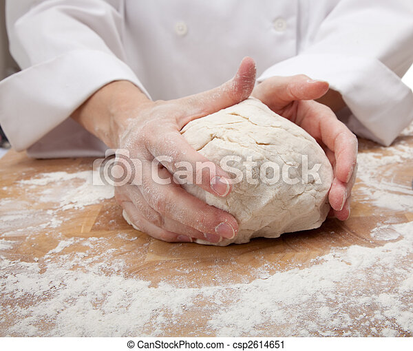 hands kneading bread dough - csp2614651