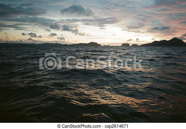choppy sea at dusk - csp2614671