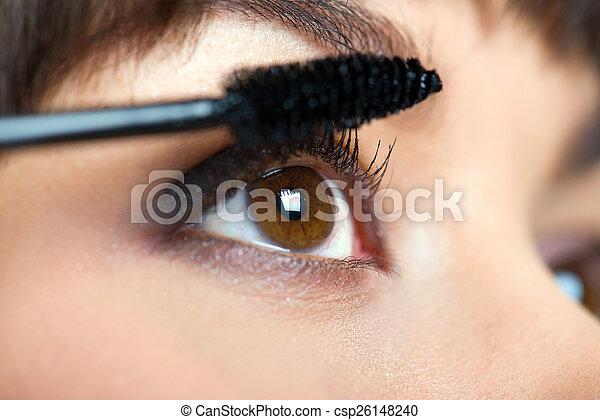 Makeup. Make-up. Applying Mascara. Long Eyelashes