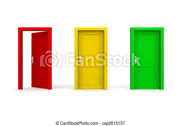 Three Coloured Doors - Open Red - csp2615157