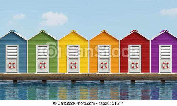 Clipart de bois plage cabines jet e color plage for Plan cabine de plage en bois