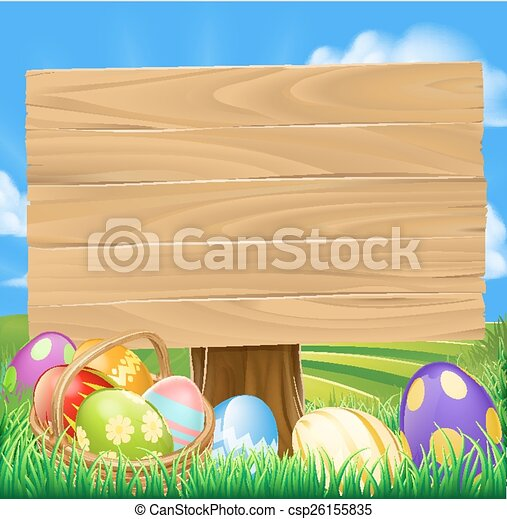 Easter Egg Hunt Cartoon - csp26155835