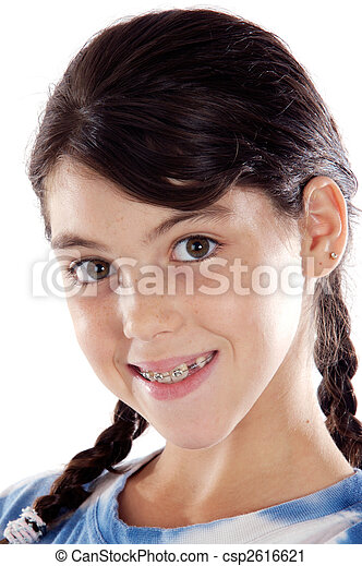 Adorable girl with braces - csp2616621