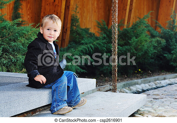 child fashion concept with beautiful little child outdoor in nature - csp2616901