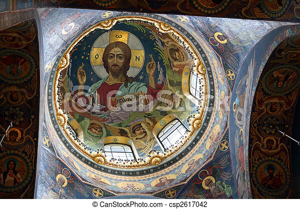 christ fresco in dome cupola - csp2617042