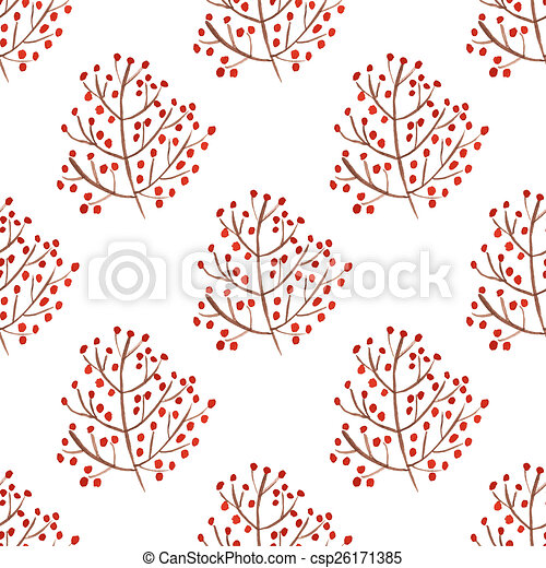 Watercolor seamless pattern with red berry branches.