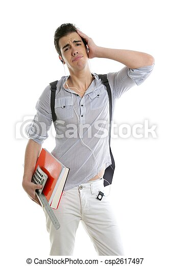 Caucasian student worried with negative gesture - csp2617497