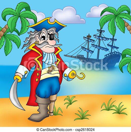 Dibujos de viejo, pirata, playa, -, Color, Ilustración csp2618024 ...