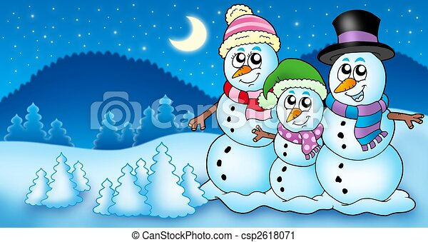 Clipart of Winter landscape with snowman family - color ...