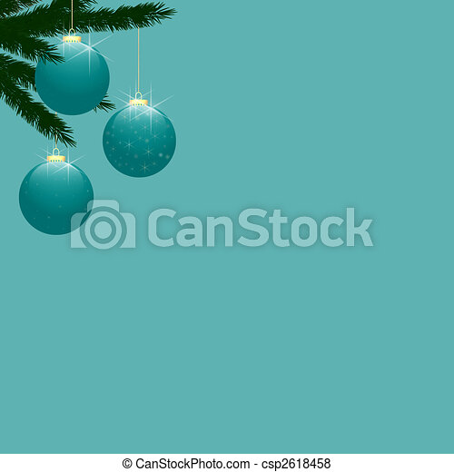Christmas Tree Baubles on Turquoise - csp2618458