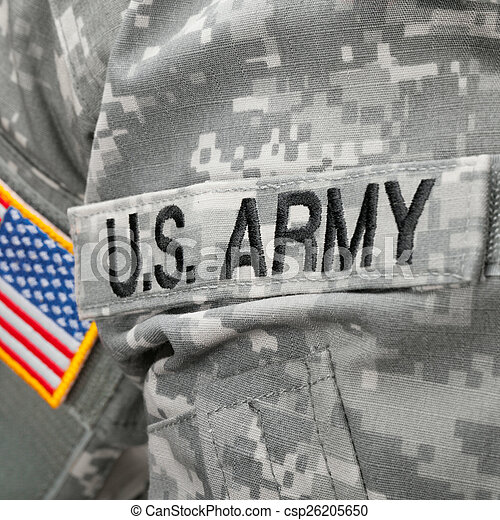 US Army and flag patch on solder\'s uniform