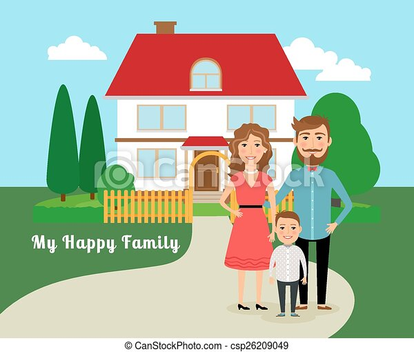 EPS Vector of Happy family near house. Father mother and ...