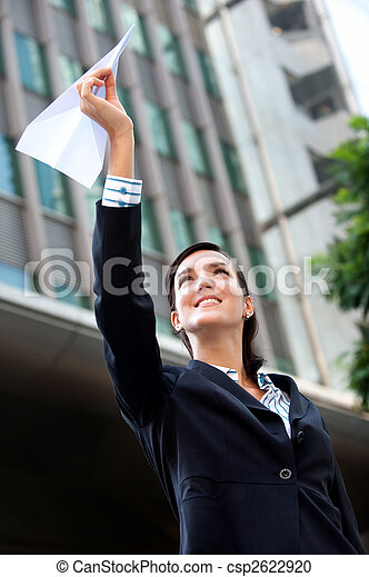 Businesswoman with Paper Plane - csp2622920