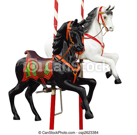 Two Merry-Go-Round Horses - csp2623384