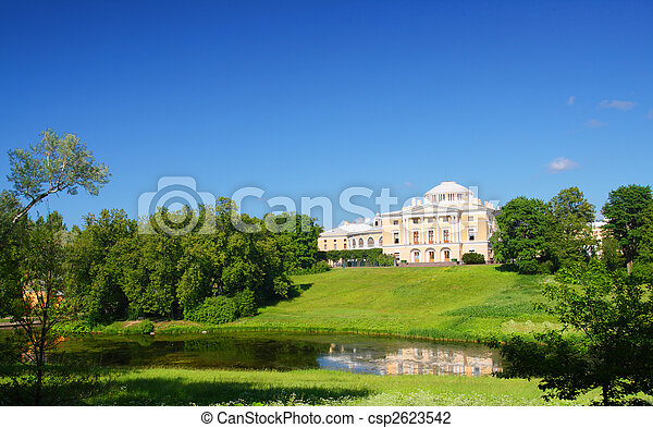 palace on hill in Pavlovsk park - csp2623542