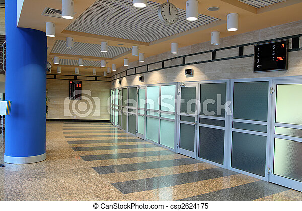 waiting hall with doors in offices - csp2624175