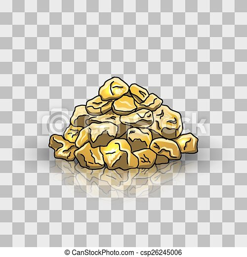 vector clipart of golden nuggets pile vector illustration