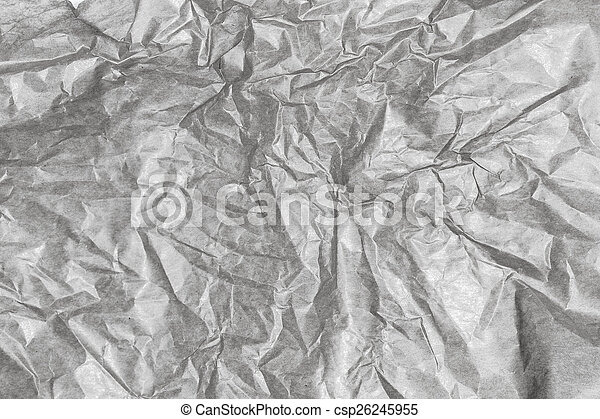 Crumpled gray paper background texture. Vintage craft paper text