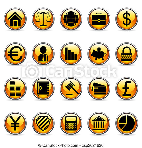 Vector business and finance buttons. - csp2624630