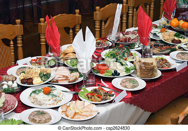 stock fotografie van russische feestmaal festively bedekt russische tafel csp2624830. Black Bedroom Furniture Sets. Home Design Ideas