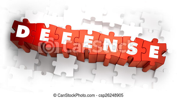 Stock Illustration of Defense - Word on Red Puzzles. 3D Render ...
