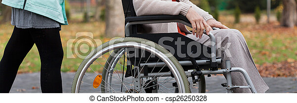 Lady on wheelchair in park