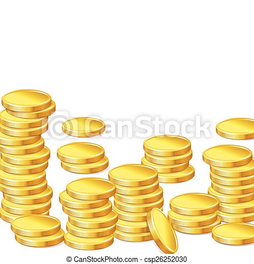 Stacks of gold coins on white background - csp26252030