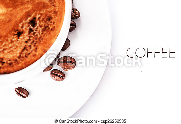Coffee cup and roasted coffee beans isolated on a white backgrou