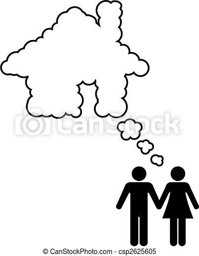 Dream House Couple Share Home Ownership Idea - csp2625605