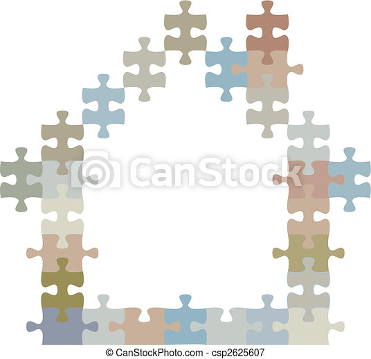 Home of jigsaw puzzle pieces shape a house - csp2625607