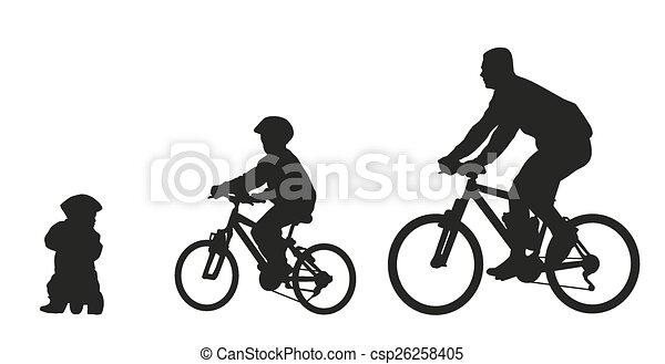 Vector Clip Art de vector, padre, niños, silueta ...